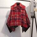 2016 new women's Retro red coat female Short Cloak