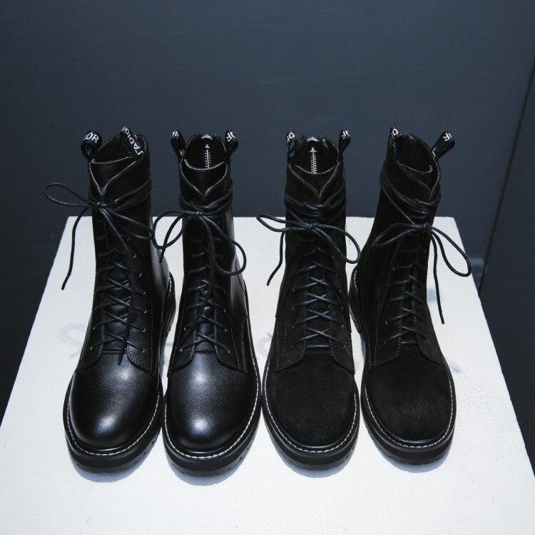 Mujer Suede Caliente {zorssar} Motocicleta Nueva Tacón Para Black Marca Genuino Leather black Las Tobillo Mujeres 2018 Botas Cuero De Invierno Zapatos Leather Bajo Cow qTwqCrBa
