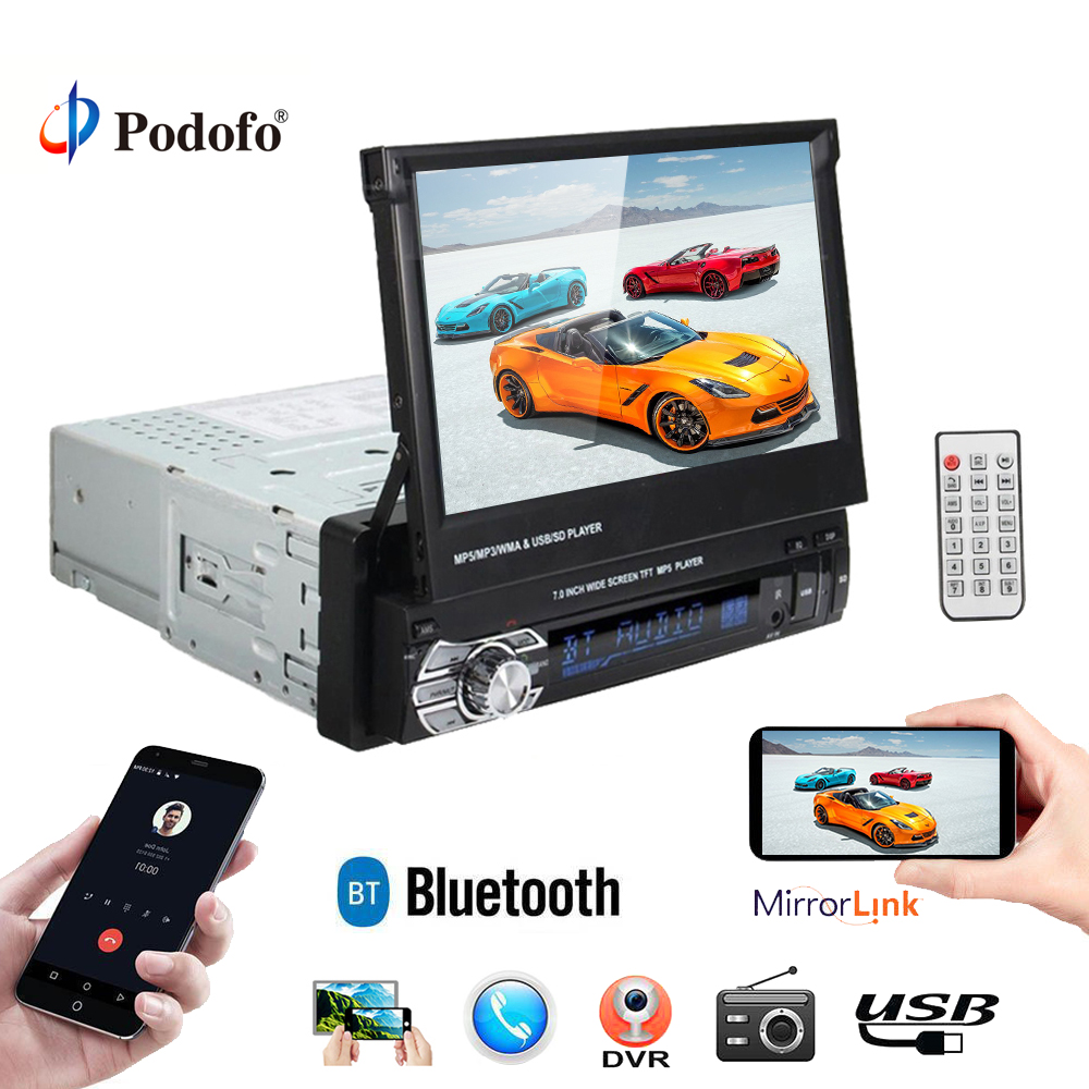 "Podofo Universal 7"" HD Touch Screen Car Monitor Radio Stereo FM Bluetooth MP3 MP5 Player Audio Player 9601 1 Din USB Autoradio(China)"