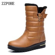 Zzpohe женские зимние ботинки Женская мода Водонепроницаемый бархат Снегоступы женские нескользящие удобные непромокаемые Сапоги и ботинки для девочек плюс размер 35-41