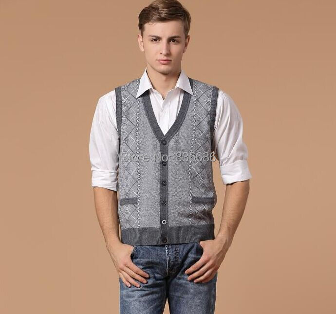 New autumn casual man v neck argyle cashmere cardigan vest button ...