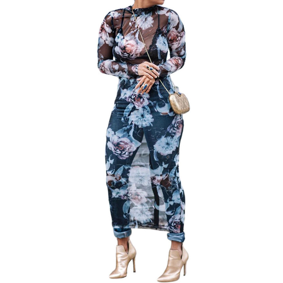 db9ad54343588 US $16.36 10% OFF|Lining+Dress Newest Fashion Mesh Flower Floral Embroidery  Runway Maxi Women Black Bohemia Beach Perspective Long Dress -in Dresses ...