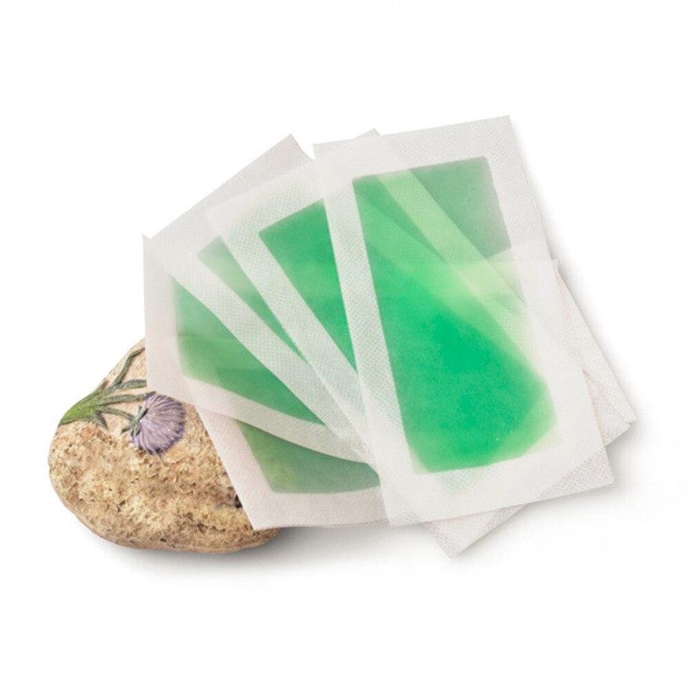 1 φύλλο 2 τεμαχίων πράσινη αφαίρεση τρίχας διπλής όψεως κρύο χαρτί κεριών χαρτιού για το σώμα του ποδιού αποτρίχωση αποτρίχωση μη υφασμένο αποτριχωτικό