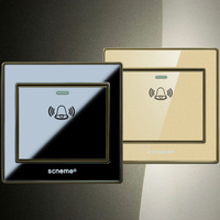 86 Type Doorbell Push Button Switch Crystal Acrylic Black Gold Panel Electric Wall Switch 10A 220V