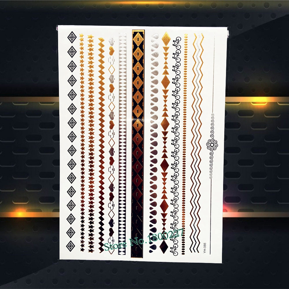 Fashion Flash Gold Brown Tattoo Grid Waterdrop Chain Bracelet Design Arm Leg Jewelry 21x15CM Waterproof Temporary Tattoo Sticker