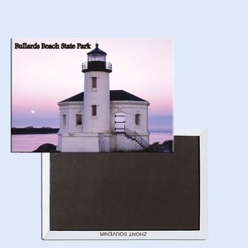 Tourist Souvenirs,Fridge Magnetic,Exquisite Gift 24546, Coquille River Lighthouse and Moonset, Bullards Beach State Park, Oregon image