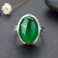 Long Baolong authentic 925 Sterling Silver Silver retro pattern of natural ice green chalcedony ring Ms.