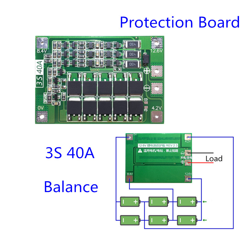 Balance 3S BMS Board 40A BMS 11.1V 12.6V 18650 Lithium Battery Protection Board With Balanced Version For Drill 40A Current