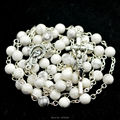 White pine round bead catholic rosary lovely rosary
