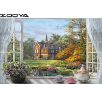 ZOOYA Wall Stickers Diamond Embroidery 3d DIY Diamonds Painting Cross Stitch Mosaic Picture Landscape Windowsill Tea