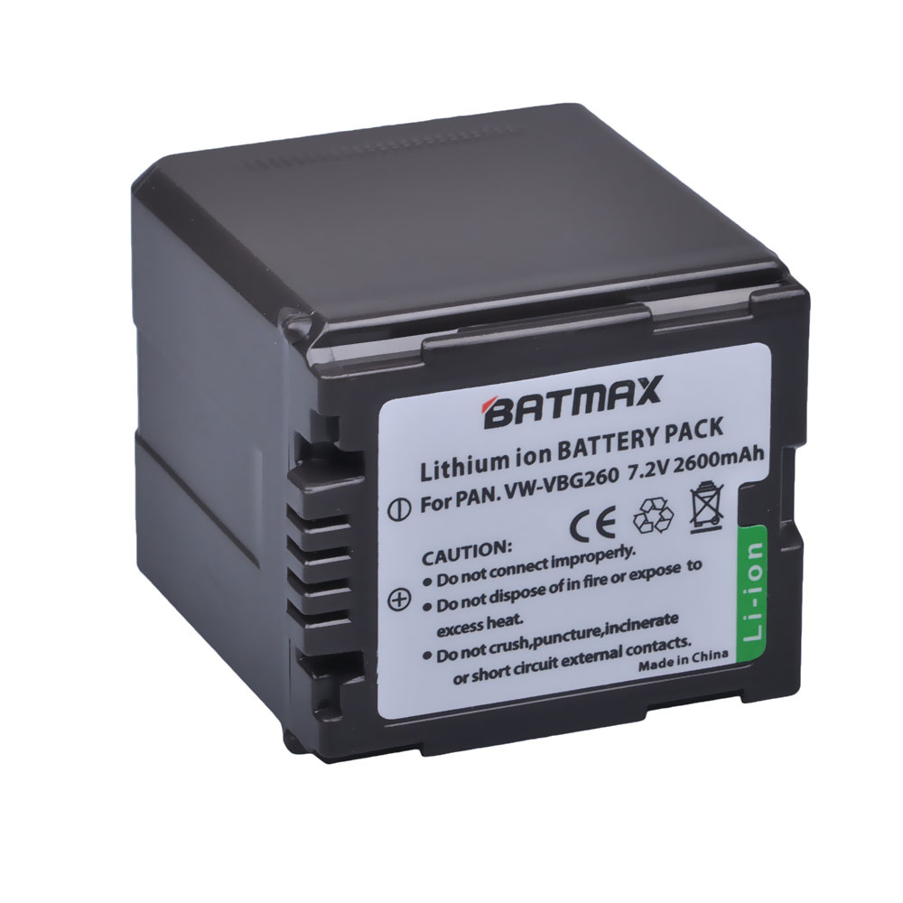 1 unids reemplazo de alta capacidad recargable vw-vbg260 VW vbg260 vwvbg260 Baterías para cámara para Panasonic hs250 sdr-sd7 hdc-mdh1