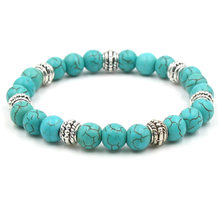 NEW High Quality Blue White Green Red Natural Turquoises Stone Bracelet Homme Femme Charms Men Strand Beads Yoga Bracelets Women(China)