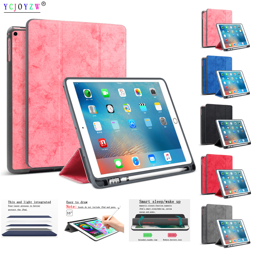 Case For New iPad Pro 10.5 inch (2017):A1701 A1709 . PU leather+TPU soft silicone Smart Sleep Wake Tablet Pen tray case-YCJOYZW