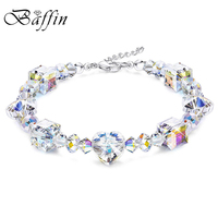 Women Wedding Jewelry Luxury Colorful Beads Chain Bracelet Bangles Crystals From Swarovski Silver Charm Bracelet Hand Pulsera