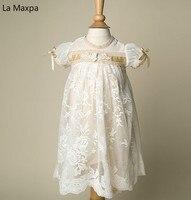 Новые детские PA Кружево длинное платье бальное платье с бантом свадебное платье фотография Костюмы