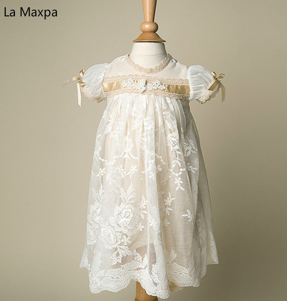 New Baby Palace Lace Long Dress Bow Birthday Party Dress Wedding Dress Photograph Clothing