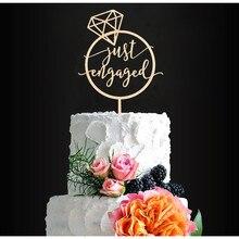 Diamante forma de anillo de madera recién casados decoración de la torta de boda decoración de la torta de compromiso decoración de la torta