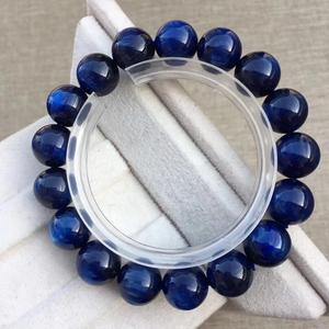 Genuine Blue Kyanite Gemstone Round Bead Stretch Bracelets 12mm Best Gift For Women Female Men Cat Eye Effect Reiki Stone AAAAA