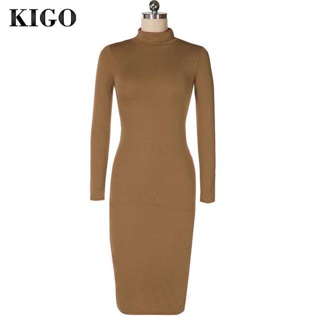 KIGO Kim Kardashian Dress Autumn Black Turtleneck Solid Vestidos Femininos Party Dress Sexy Long Sleeve Bodycon Bandage Dress 2