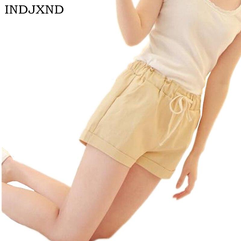 INDJXND 2018 Brand New Summer Women Casual Loose Elastic Waist Cotton   Shorts   Drawstring Slim   Shorts   Solid Colors Women   Shorts