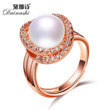 Zircon Pave Ring Luxury Bling Bling Ring Adjustable Golden Plated Freshwater Pearl Ring Paty Chunky Punk Ring with Gift Box(China)