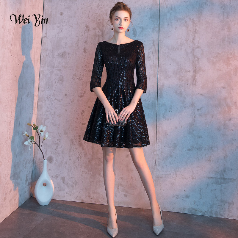 wei yin 2019 New arrival Elegant O Neck Short Prom Dresses Black Homecoming Dresses Semi Formal Dresses For Juniors WY1638