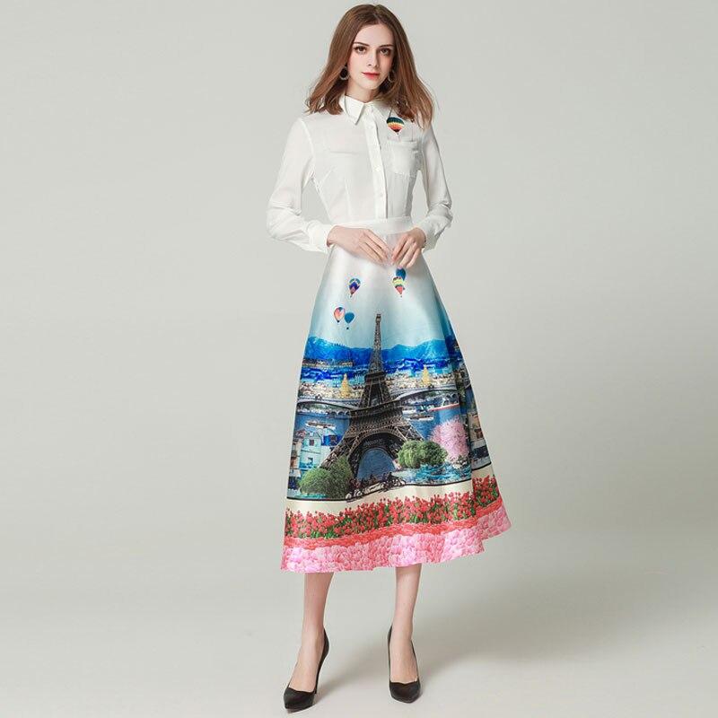 GooliShowsi ผู้หญิง designer รันเวย์ 2019 ฤดูใบไม้ผลิฤดูร้อนแขนยาว scenery พิมพ์ _ _ _ _ _ _ _ _ _ _ _ _ _ _ _ _ _ _ _ _ สีขาว Dresses robe femme Vestidos-ใน ชุดเดรส จาก เสื้อผ้าสตรี บน   2
