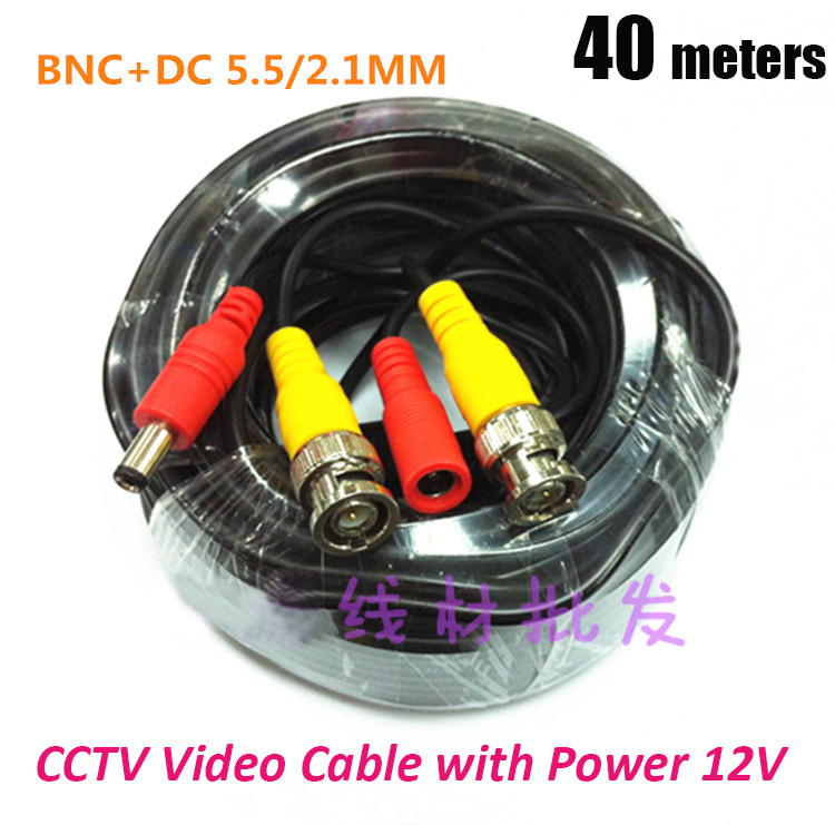 40m CCTV Cable video+power BNC+DC CCTV Camera Cable DVR Cable BNC Coaxial Cable security installations CCTV Accessory 2pcs 2m 6feet bnc rg59 cctv video coaxial patch cable for camera