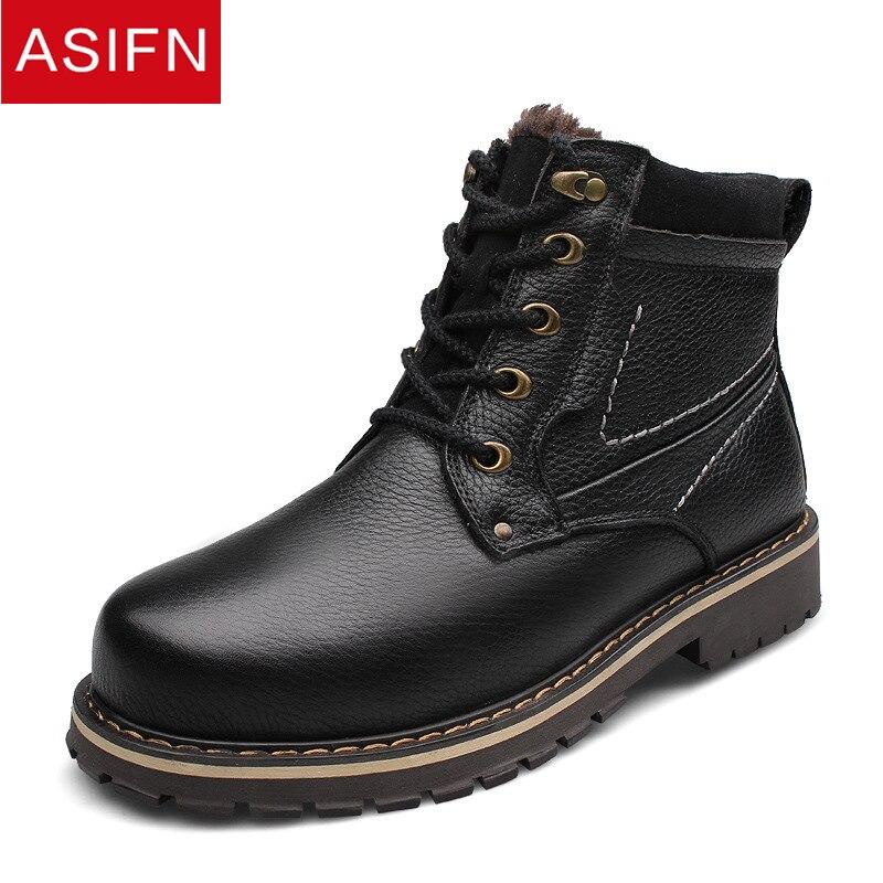 Qualité Chaud Brown Véritable or Bottes Hommes Hiver De noir Asifn Cuir Imperméables Light Fourrure Top Chaussures Neige Homme En 4qc3LA5Rj