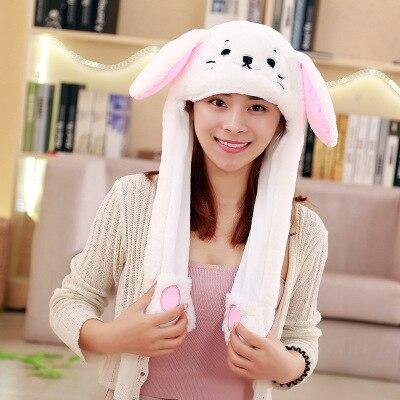Новинка, Мультяшные шапки с подвижными ушками, милый Игрушечный Кролик, шапка с подушкой безопасности, Kawaii, забавная шапка для девочек, детская плюшевая игрушка, рождественский подарок - Цвет: White cat