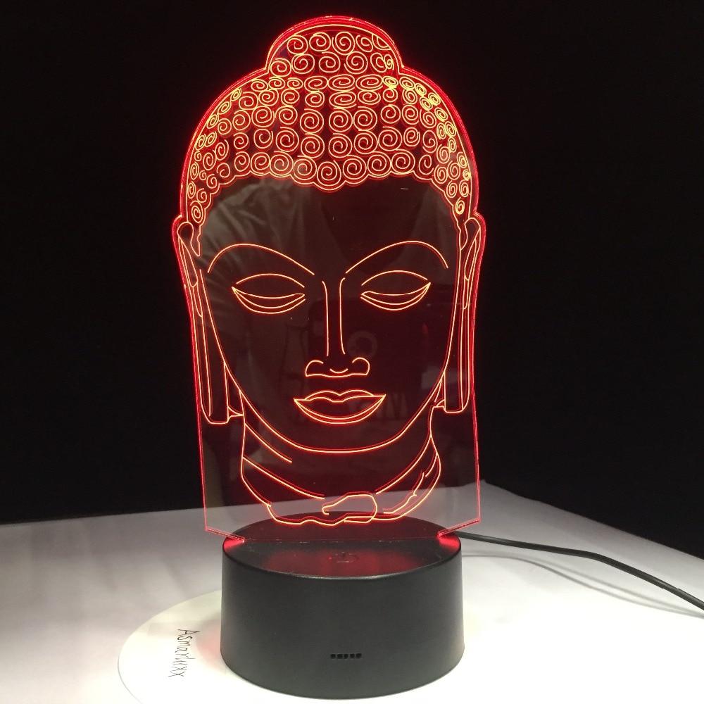 Buddha Lamp Buddhism 3D LED Light USB Color Night Light Decoration Innovation Christmas Gift for Good Luck