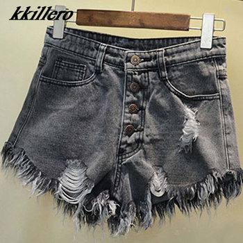 2016 European and American BF summer wind female blue high waist denim shorts women worn loose burr hole jeans shorts 1