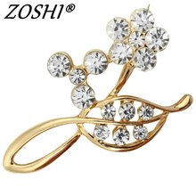 ZOSHI Luxury Vintage Flower Brooches Fashion Brooch Pins Jewelry Accessory for Women wholesale Crystal brooches women