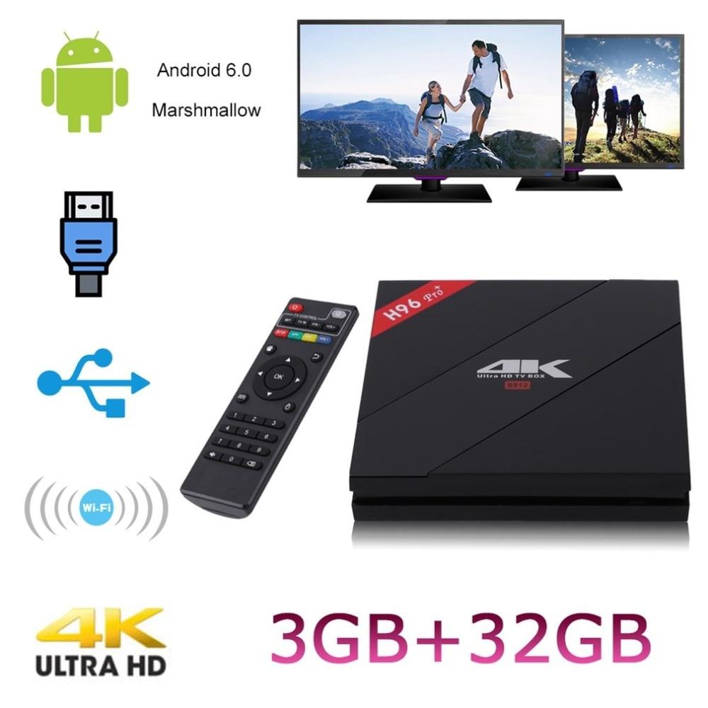 H96 Pro + TV Box Amlogic S912 3GB 32GB Octa Core Android 7.1 OS BT 4.1 2.4GHz+5.0GHz WiFi Mini PC Media Player Smart Set Top Box kimtin c6 mini projector os 5 1 amlogic