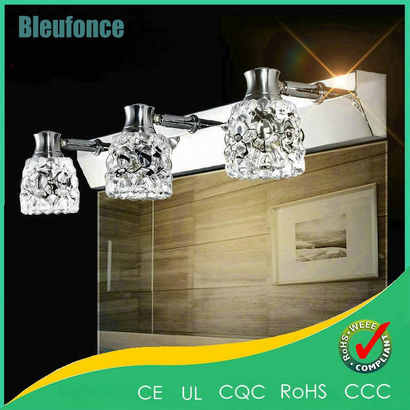 ФОТО 5W 10W 15W 20W LED Mirror Front Lamp Bathroom European Modern Minimalist Stainless Steel Wall Lamp  Crystal Sconce Lighting
