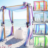 Promotion Price Gold 10M 1 35M Sheer Organza Swag Fabric Wedding Decoration Wedding Backdrop Curtain Table