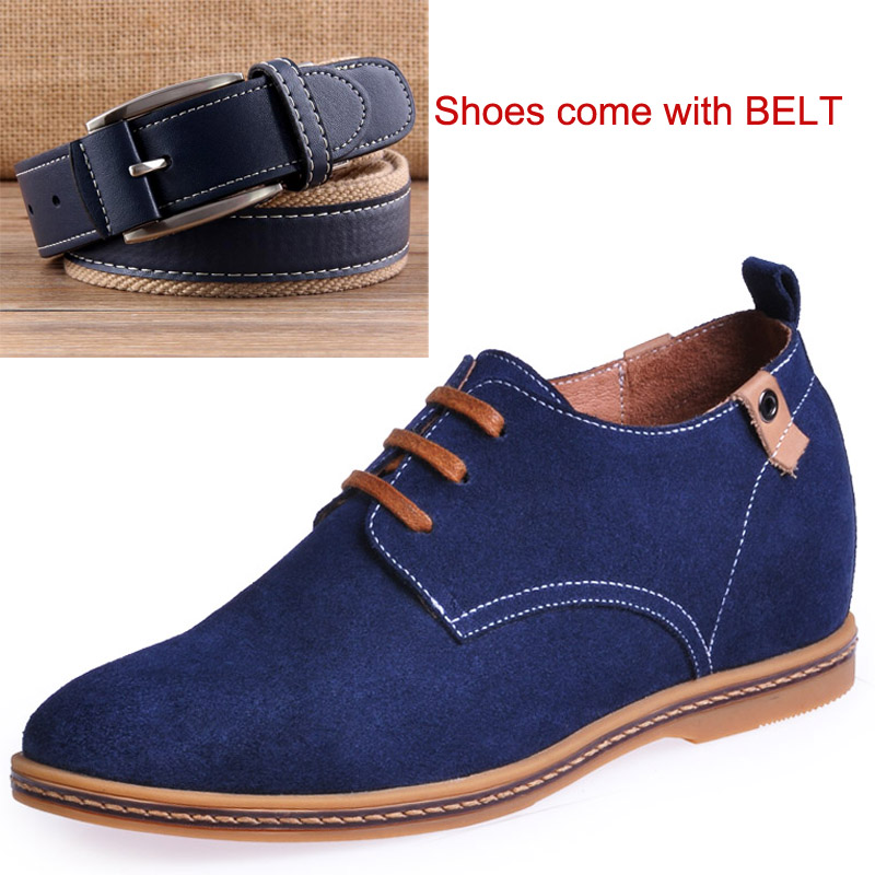 Suede Leather Shoes in Height Increased Insole Make Boys Grow Taller 6CM Blue Shoes Come with Blue Belt
