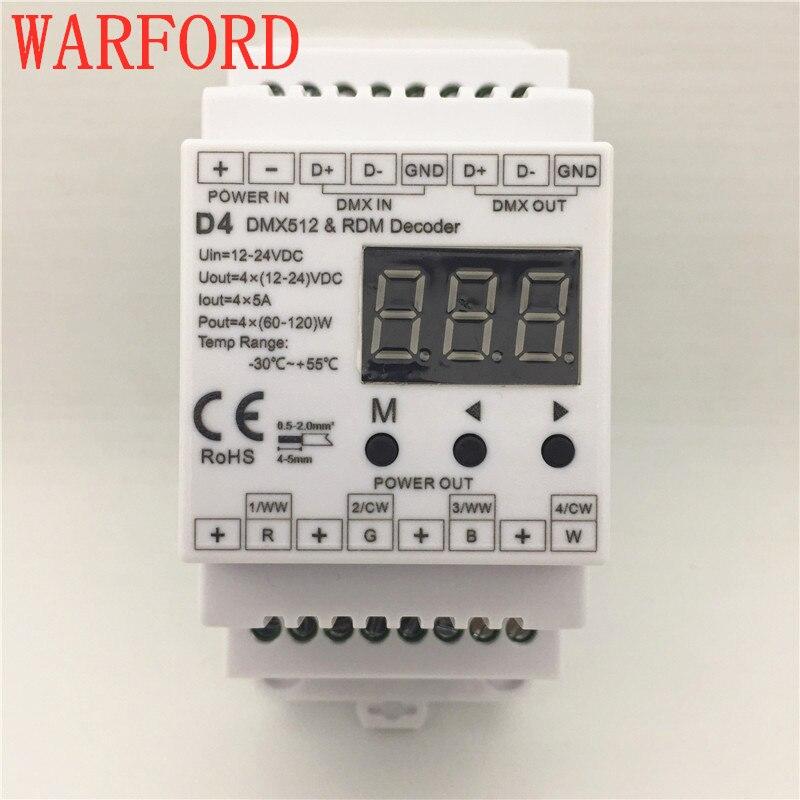 D4 DC12V-24V 4 channel 4CH PWM constant voltage DMX decoder DMX512 LED Controller for RGB RGBW LED Strip Lights