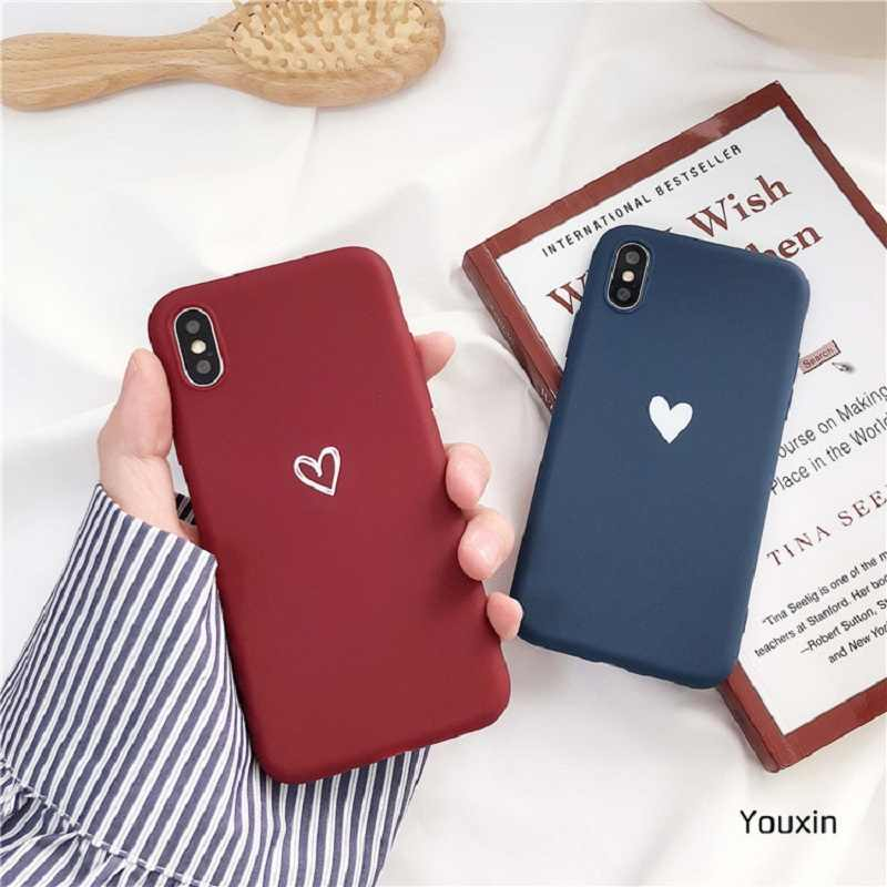 Wine red Heart Mobile Phone Case for iPhone 6 6s 7 8 Plus X XR XS Max Love Style Soft TPU Silicon Case for Girls Back Cover