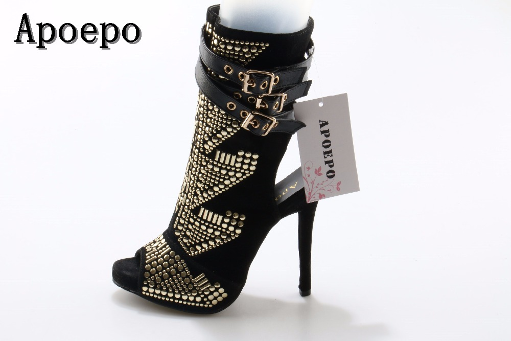 2018 newest gold rivets studded ankle boots sexy peep toe buckle strap high heel boots woman thin heels riding boots summer newest woman sandal thin heels high heel shoes 2017 solid red leather ankle buckle strap sandals rivets studded shoes