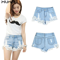 XIKN Women Casual Shorts Ripped Pocket High Waist Sexy Lace Light Blue Denim Shorts Vintage Jeans For Girl Hot Shorts AI126
