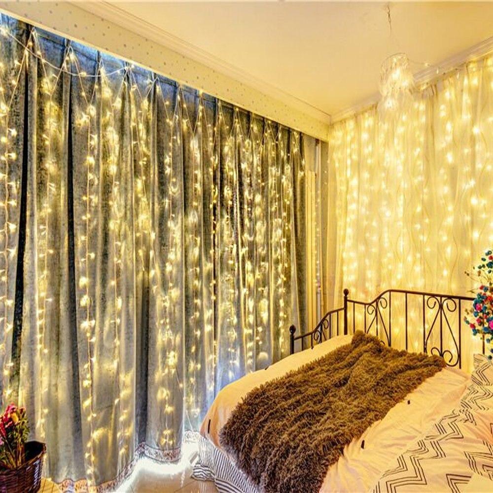Kmashi 10pcs/lot 3Mx3M 300 LED Curtain Lights LED String Lights Connectable Wedding Festival Christmas Fairy Twinkle Lighting EU