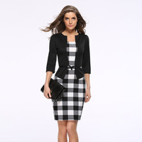2016 New Hot Fashion Women Dress Suit Elegant Business Suits Blazer Formal Office Suits Work Tunics