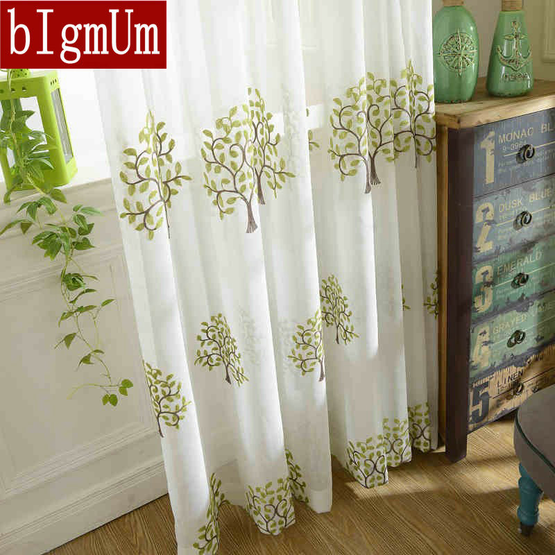 On Sale! White Tulle Curtains For Home Sheer/ Voile / Net Curtains Drapery Trees Pattern Embroidered Solid Color Free shipping