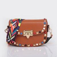New Shoulder Bag Women Fashion Rivet Mini PU Leather Ladies Crossbody Bags Color Shoulder Strap TotesHandbags
