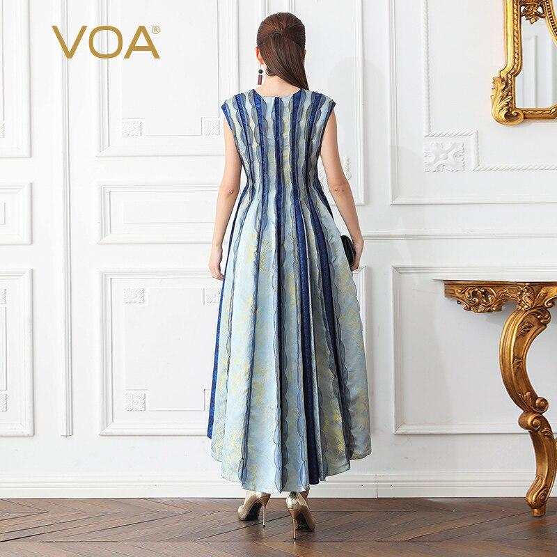 VOA Silk Jacquard Party Dress Maxi Long Pleated Dresses Women High Waist Slim Plus Size 5XL Summer haut femme sukienka A613