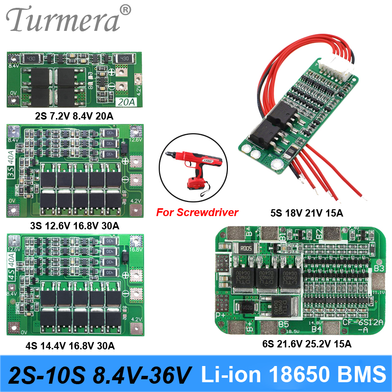 2S 3S 4S 5S 6S 10S Li-ion Lithium Battery 18650 Charger PCB BMS Protection Board For screwdriver battery Lipo Cell Module image