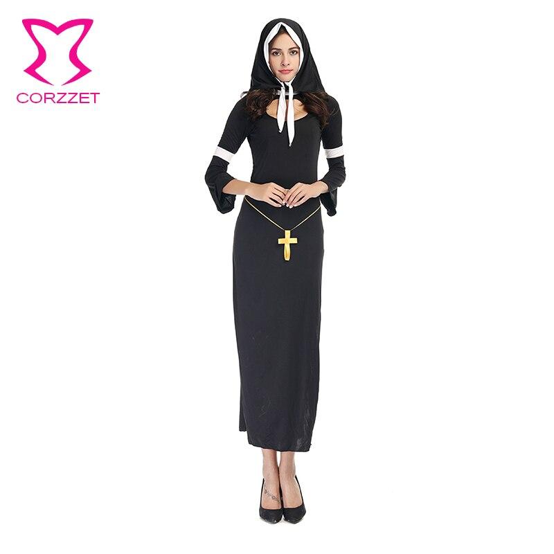 Corzzet Black Long Sleeve Women Halloween Costume Long Dress The Virgin Mary Nun Robes Costume