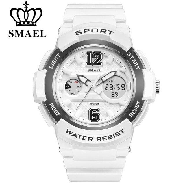 Smael белый PU ремешок для часов Для женщин Часы с двойным табло Для женщин кварцевые часы Леди Мода Часы 30 м Водонепроницаемый Relojes Mujer
