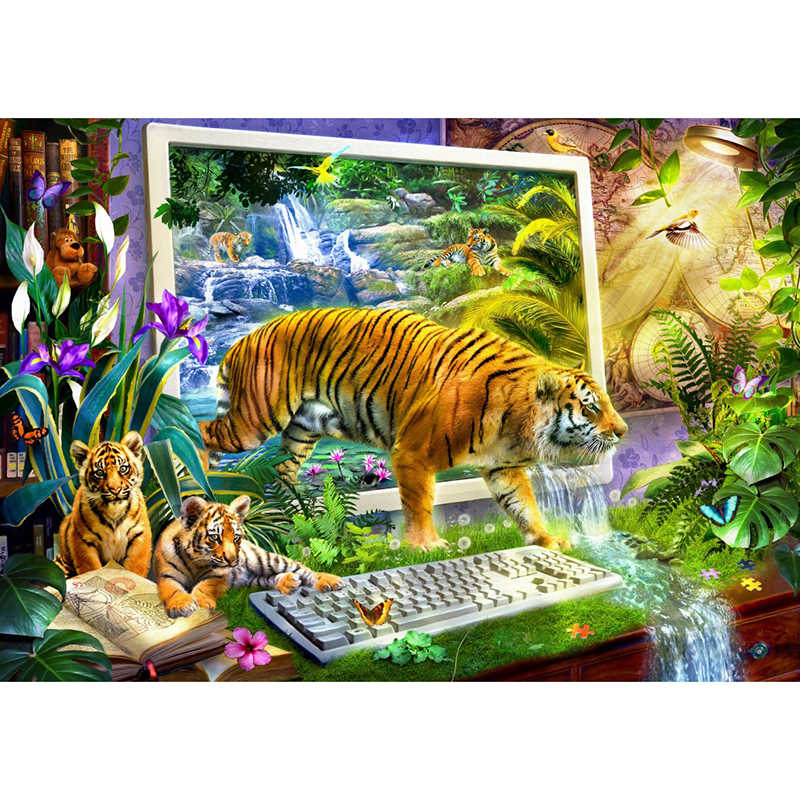 DIY Full drilling Diamond embroidery Landscape Tiger World drilling Cross stitch Round drill Diamond Painting Holiday Gifts